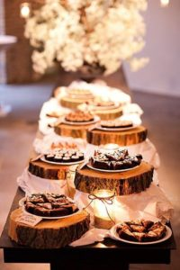 rustic table with candles